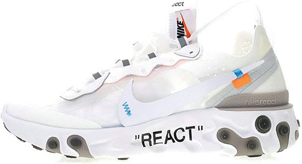 Off White X React Element 87 White Grey Aq0068 100 Running