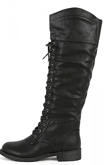 Amazon.com | Women's Over The Knee Lace Up Combat Boots in Black ...