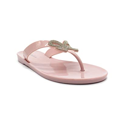 JITIAN Womens Bowknot Flip Flops Jelly Thong Flat Sandals with Pearl Beach Shoes
