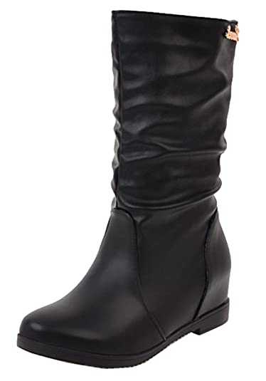 Women's Comfort Round Toe Mid Heel Elevator Dress Pull On Mid Calf Slouch Boots