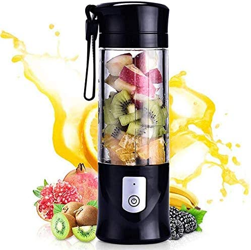 Portable blender, Mini Fruit Juicer Cup, Personal Small Electric Juice Mixer Machine with USB Rechargeable 4000mAh Battery Powered 420ML Travel Bottle