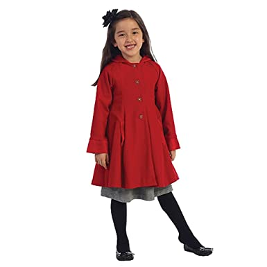 Amazon.com: Angels Garment Red Wool Hooded Swing Coat Toddler ...