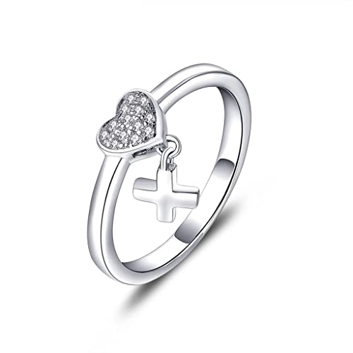 YL Sterling Silver Cubic Zirconia Heart By heart White Gold Plated Ring for Women 3q3Vsaotp