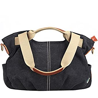Amazon.com: Eshow Women's Casual Canvas Hobo Shoulder Bag, Black ...