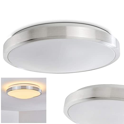 LED ceiling spot in brushed aluminium Wutach bathroom ceiling lamp ceiling light also for hallway, living room, round LED ceiling lamp with white