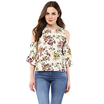 Harpa Women's Floral Regular Fit Top (GR3747-WHITE_small)