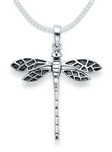 Sterling Silver Dragonfly Pendant Necklace on 18