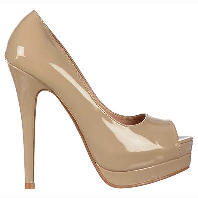 10bc7b71ab3 Ladies Womens Ella Formal Peep Toe Stiletto Platform High Heel .