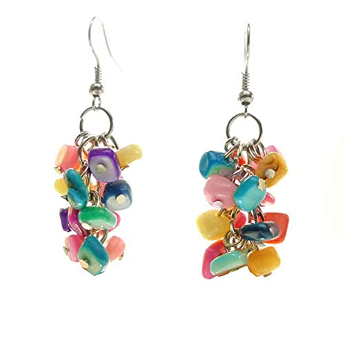 boucles d'oreilles pendantes multicolores