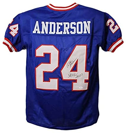Ottis Anderson Autographed New York Giants Blue Jersey SB XXV MVP  for sale