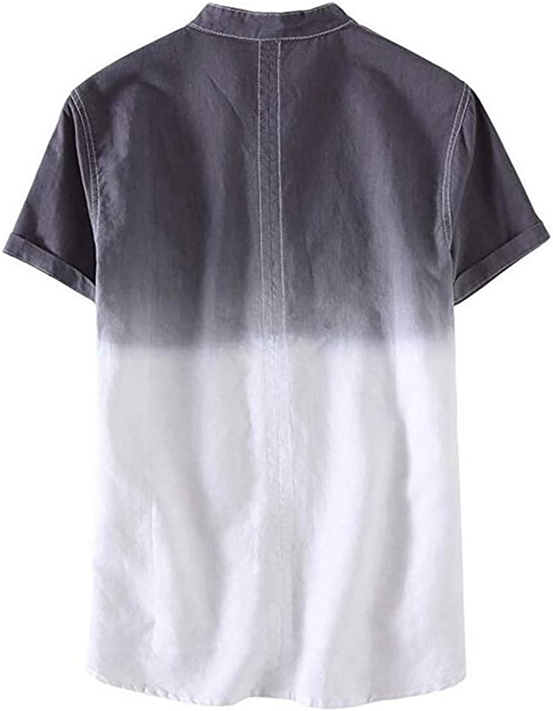 Men's Casual Short Sleeve Cotton Linen Shirts Cool and Thin