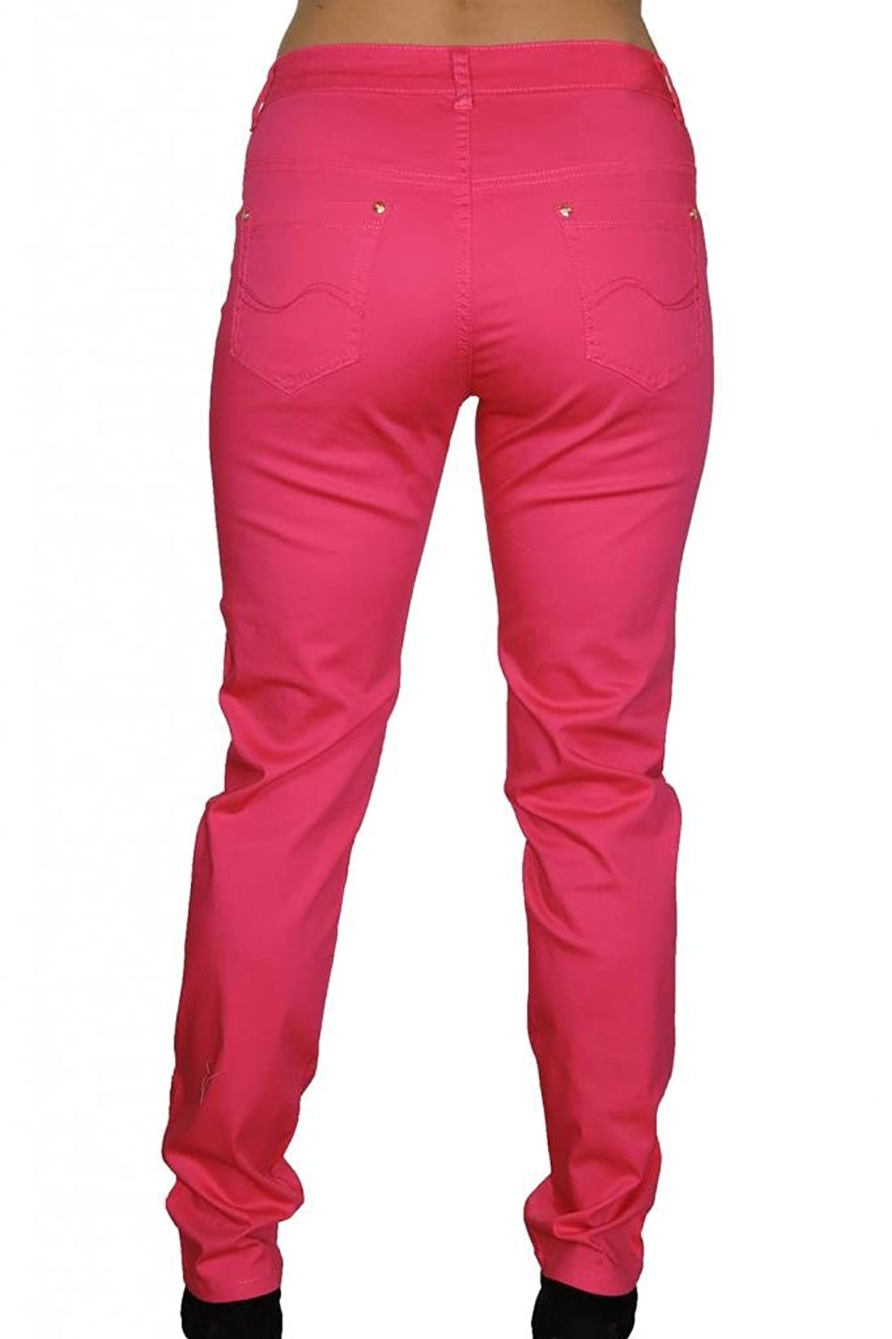 1417-3) Plus Size Cotton Feel Stretch Tapered Leg Jeans Hot Pink ...
