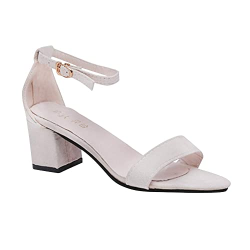 18f1234a Sandalias Zapatos Tacón Damas Huatime Medio Mujer Bajo Tiras 8Ovnwm0yN
