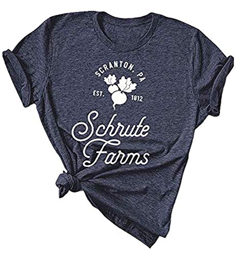 AEURPLT The Office Shirt Women Scranton PA Schrute Farms Radish Funny Graphic T Shirt Tops Tees Dark Grey