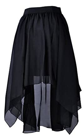 Demarkt Women's Chiffon Asymmetrical High-low Skirt Long Skirt ...