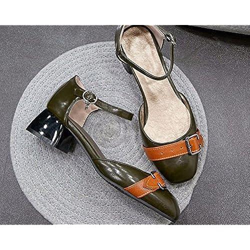 6b30aa5bebf Piel Cordones Mujer Verde Hitime Zapatos Con Planos De Color qXTzp