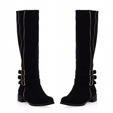 Women's Vintage Zipper Buckle Strap Chunky Low-heel Knee-high Riding Bootsjodhpur Boots