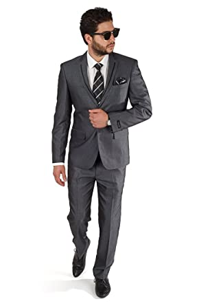 Slim Fit Charcoal Grey Tuxedo Fashion Suit with Modern Black Trim ...
