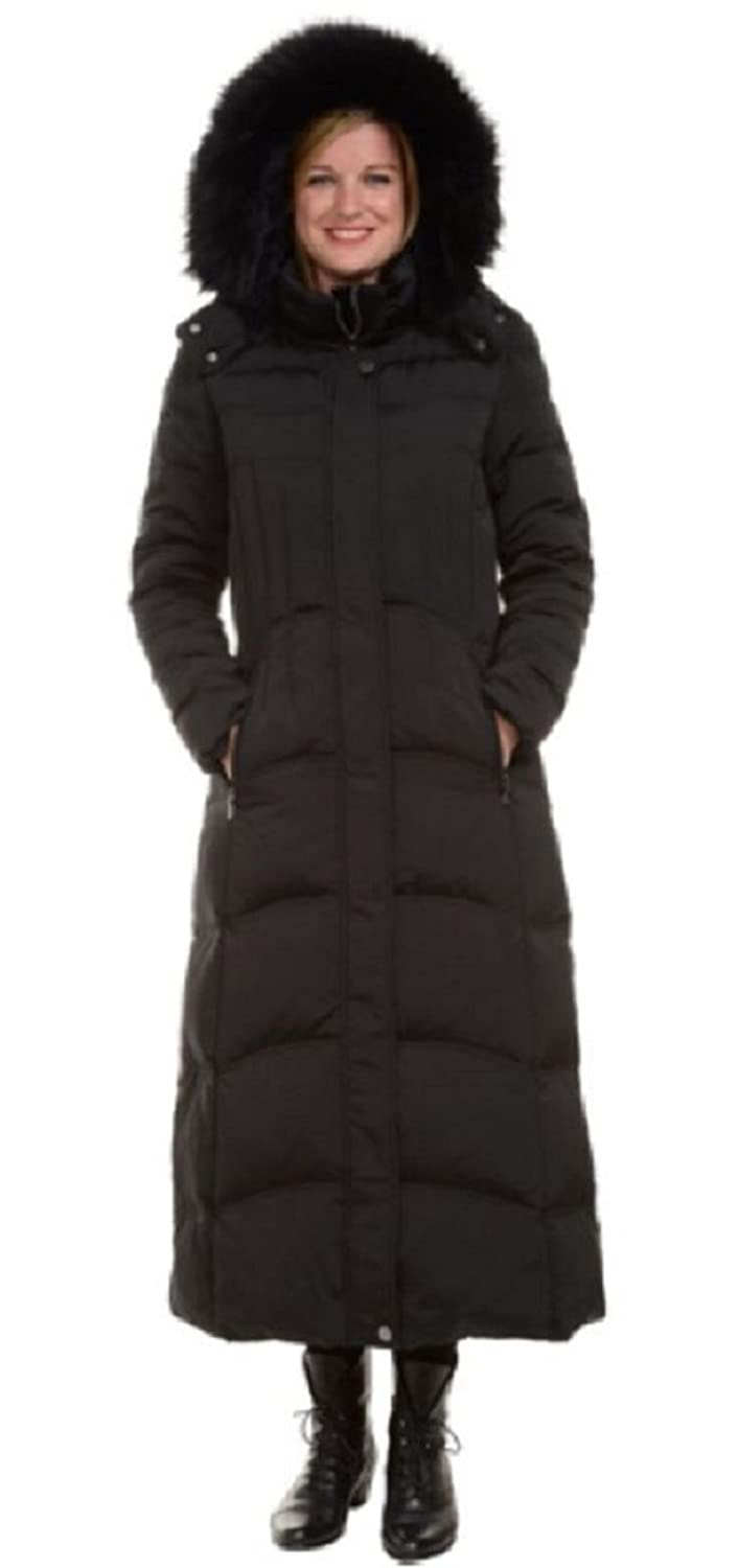 1 Madison Ladies Maxi Down Coat Detachable Faux Fur Hood at Amazon ...