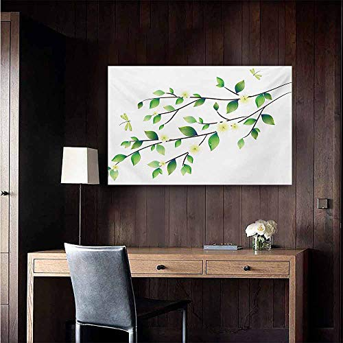 duommhome Dragonfly Light Luxury American Oil Painting Leaves with Little Dragonflies and Jasmine Environmental Botanical Illustration Home and Everything 32