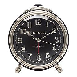 Timelink 33010A Crosley Vintage Metal Quiet Sweep Alarm Clock, Silver
