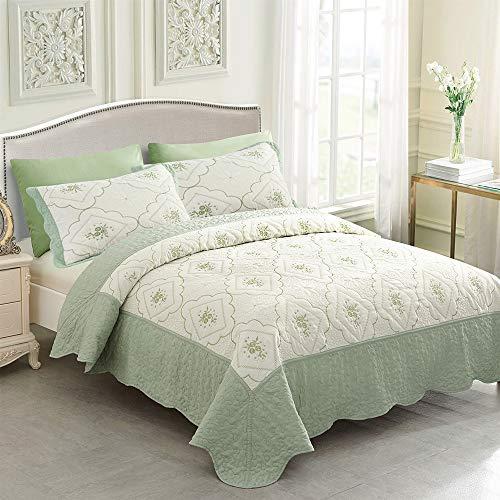 - JML Quilt Set King - 3 Piece Embroidered Lightweight Breathable Microfiber Bedspread Coverlet Set (Green, Diamond)