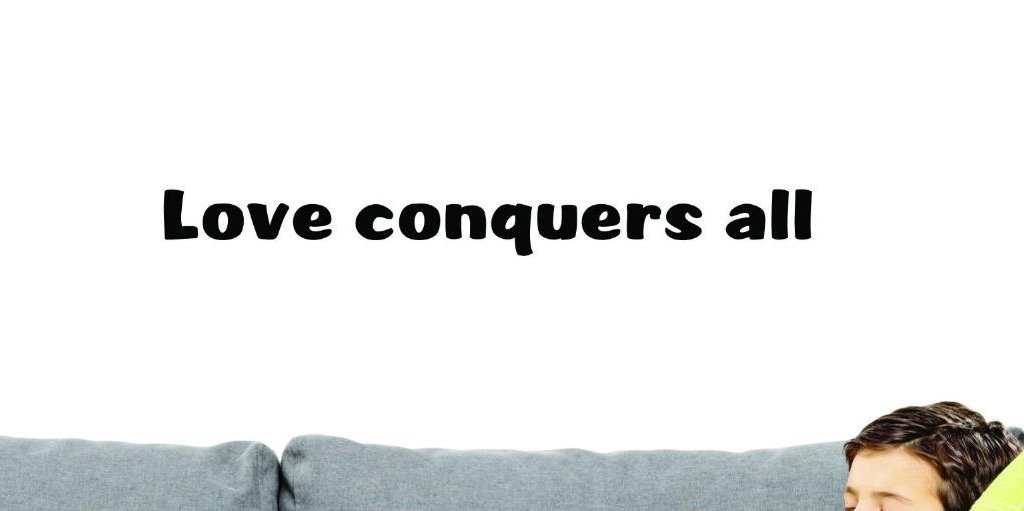 Design with Vinyl US V SOS 994 3 Top Selling Decals Love Conquers All Wall Art Size 10 Inches X 36 Inches Color Black 10 x 36