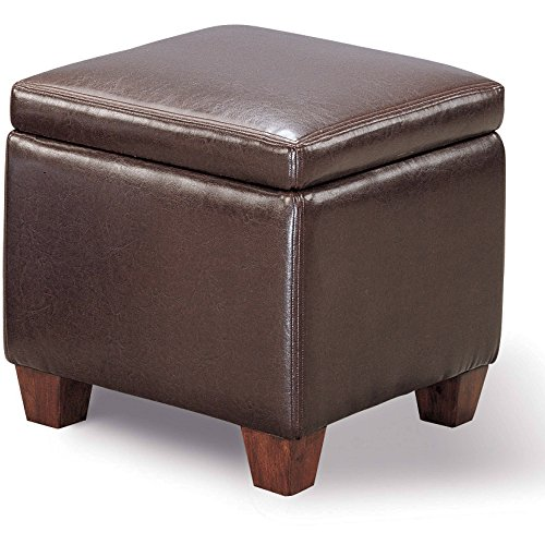 Storage Ottoman, Dark Brown Bicast-Like Vinyl, Upholstery Cube Shape, Removable Flip Top Internal Storage Space, Storage Ottoman in Dark Brown + Expert Guide