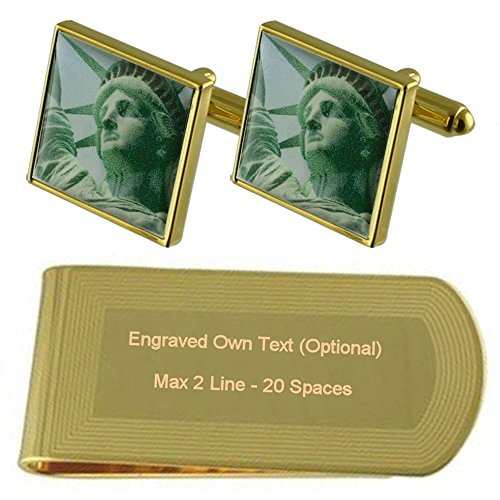 Gold Cufflinks New Clip Liberty Statue York Engraved Set Gift tone Money qUXwXtRrx