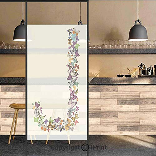 3D Decorative Privacy Window Films,Alphabet and Nature Tropical Biological Monarch Collection of Wings Typeset ABC Decorative,No-Glue Self Static Cling Glass film for Home Bedroom Bathroom Kitchen Off