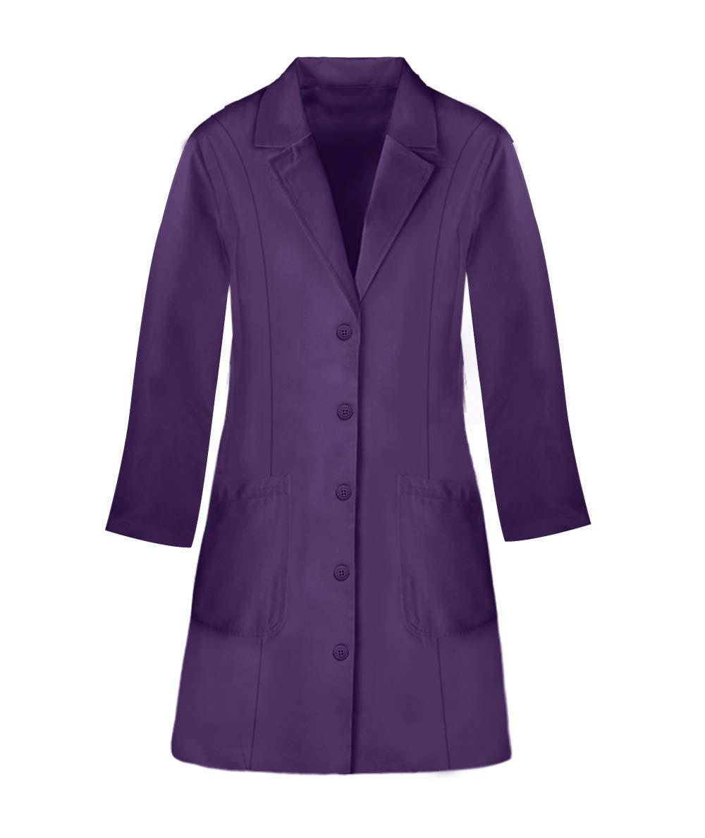 Panda Uniform Custom Colored Lab Coat for Women 36 Inch length-Purple-L