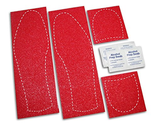 Mens Shoe Sole Bottom Cover for Dress Shoes - Anti Slip Rubberized Pads - Available in Clear Red & Black (Red)