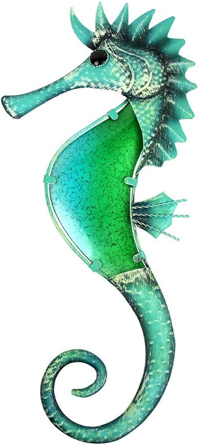 Liffy Metal Seahorse Wall Decor Beach Theme Sculpture Outdoor Hanging Sea Art Green Glass Fish Decorations for Pool, Patio or Bathroom