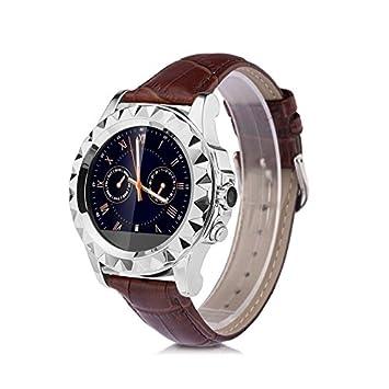 No.1 SUN S2 Smartwatch Reloj Correa de Cuero (Pantalla Tactil, Podometro, Monitor de Sueño y Ritmo Cardiaco, Cámara 0.3MP, Captura Remota, Para ...