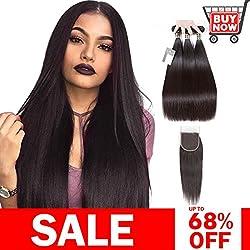 "Puddinghair Straight Brazilian3 Bundles with Closure Unprocessed 100% Virgin Hair Bundles Natural Black Brazilian Human Hair Hundles(16""18""20""+14""Free Part Closure)"