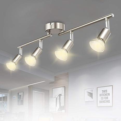 Amazon Com Dllt Modern Led 4 Light Track Lighting Kit Flush Mount Wall Or Ceiling Spot Lights Fixtures Flexibly Adjustable Decorative Accent Lamp For Kitchen Living Room Bedroom Hallway Gu10 Bulbs Included Kitchen
