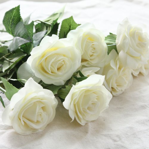 DIY Artificial Silk Craft Flowers for Bouquets, Weddings, Wreaths, & Crafts, Single Closed Rose Bud Stem 1 Bunch of 12pcs (Pure White)