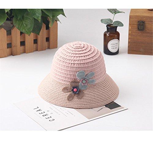 Brand Wide Brim Floppy Straw Sun Hat Beach Children Hat Foldable Summer UV Protect Travel Cap Casual Cap Kids Panama Hats (a) by zhenyu (Image #1)