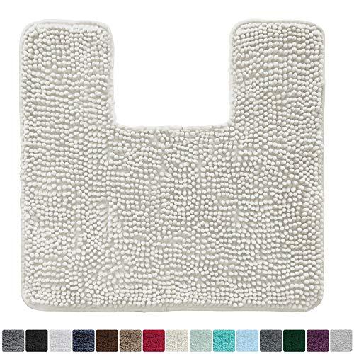 Gorilla Grip Original Shaggy Chenille Square U-Shape Contoured Mat for Base of Toilet, 22.5x19.5 Size, Machine Wash and Dry, Soft Plush Absorbent Contour Carpet Mats for Bathroom Toilets (Ivory Cream)