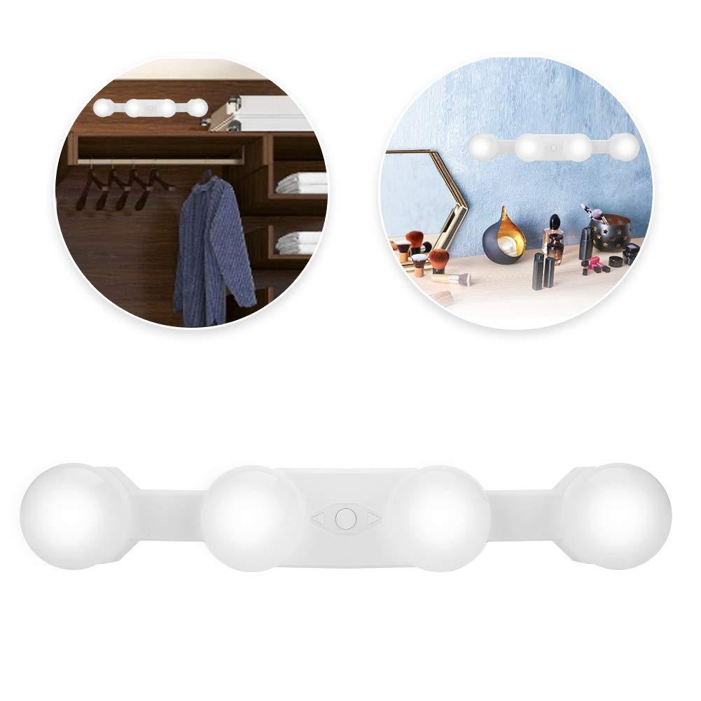 3 Niveles de Brillo para Cocina y Espejo de Maquillaje y vestidor y ba/ño 4W L/ámparas LED con 4 Bombillas Luces de Espejo de Maquillaje bater/ía y Recarga USB Luz de Espejo Inal/ámbrico