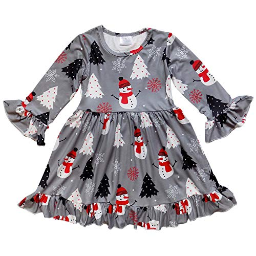 (So Sydney Girls or Toddler Fall Winter Christmas Boutique Holiday Dress Long Sleeves (S (3T), Gray Polka Dot)
