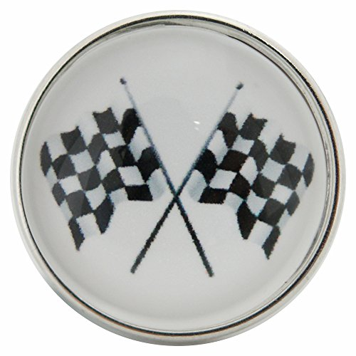 Snap Charm Checkered Flag Auto Racing Black and White Glass Cover Domed Snap 20mm 3/4