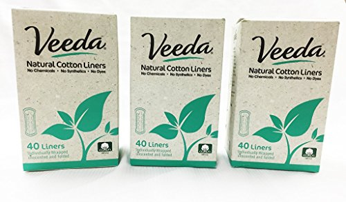 (Veeda Natural Cotton Liners, Folded, Hypoallergenic, Folded, 3 Boxes, 40 Count)