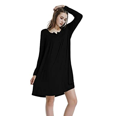 412117ff1a0 HULKAY Women s Long Sleeve Mini Dress O Neck Button Loose Above Knee Dresses (Black