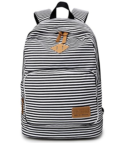 Green Striped Backpack (Wesell Navy Unisex Canvas Large Capacity Striped Backpack Casual Travel Backpack 14 inch Laptop backpack Book Bag School Bag)