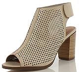 Peep Toe Ankle Strap Sandal - Western Bootie Low Stacked Heel Open Toe Cutout Velcro - Casual by J Adams