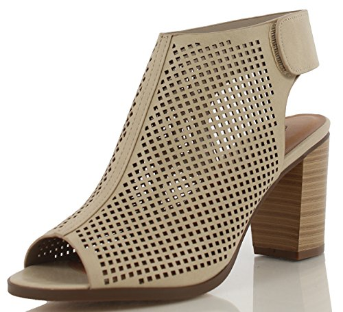 Peep Toe Ankle Strap Sandal - Western Bootie Low Stacked Heel Open Toe Cutout Velcro - Casual by J Adams