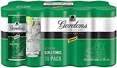 Gin Tonic de Gordon 10 x 250ml: Amazon.es: Alimentación y bebidas
