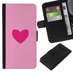 Planetar® Modelo colorido cuero carpeta tirón caso cubierta piel Holster Funda protección Para Samsung Galaxy A3 / SM-A300 ( Love Pink Broken Heart )