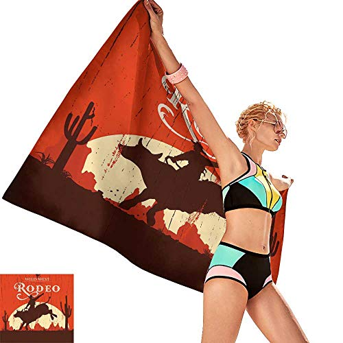 (homehot Bath Towel Sets Prime Throw Blanket with Vintage Rodeo Cowboy Riding Bull Wooden Old Sign Western Wildernes,W31 xL63 for)